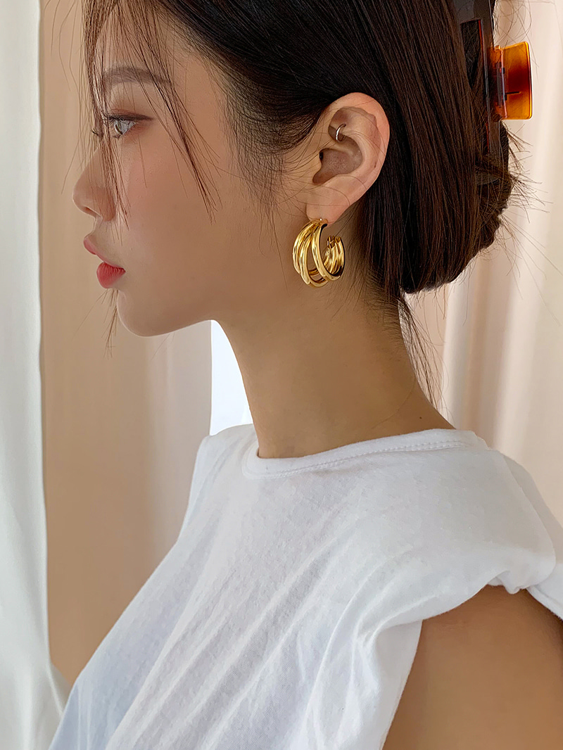 Three circle earrings-earring