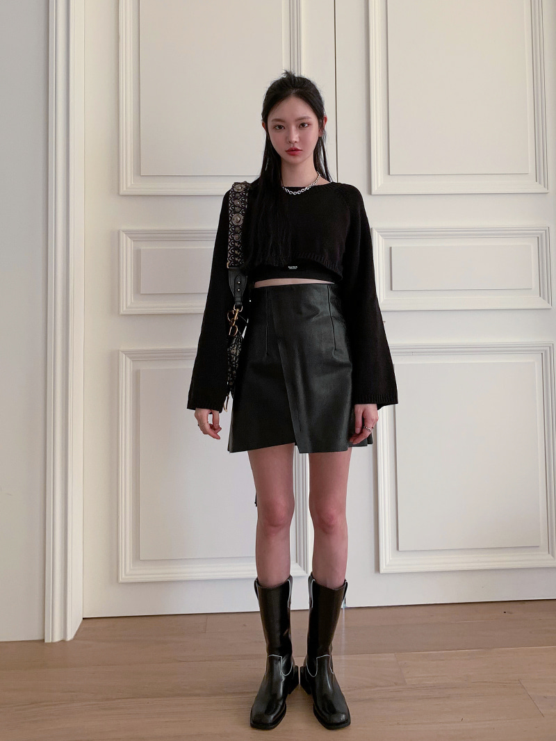 Diagonal Leather Mini Skirt-sk (Black S Same Day Delivery)