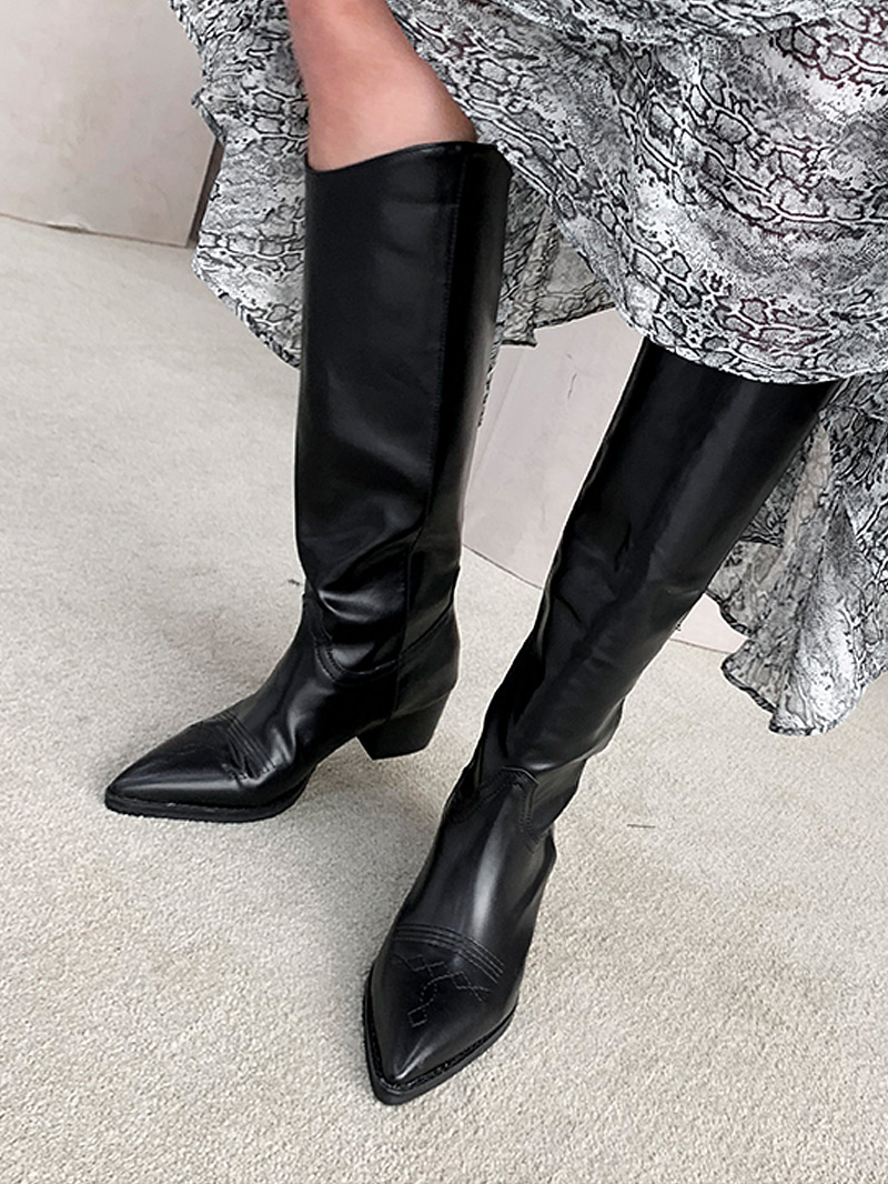 Western Embroidery Long Boots-sh (Black 235 Same Day Delivery)