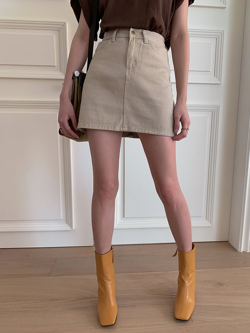 Gold Button Mini Skirt-sk