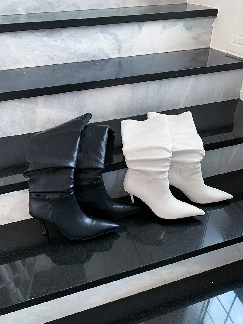 Stiletto Wrinkle Boots-sh (Ivory 250 Same Day Delivery)