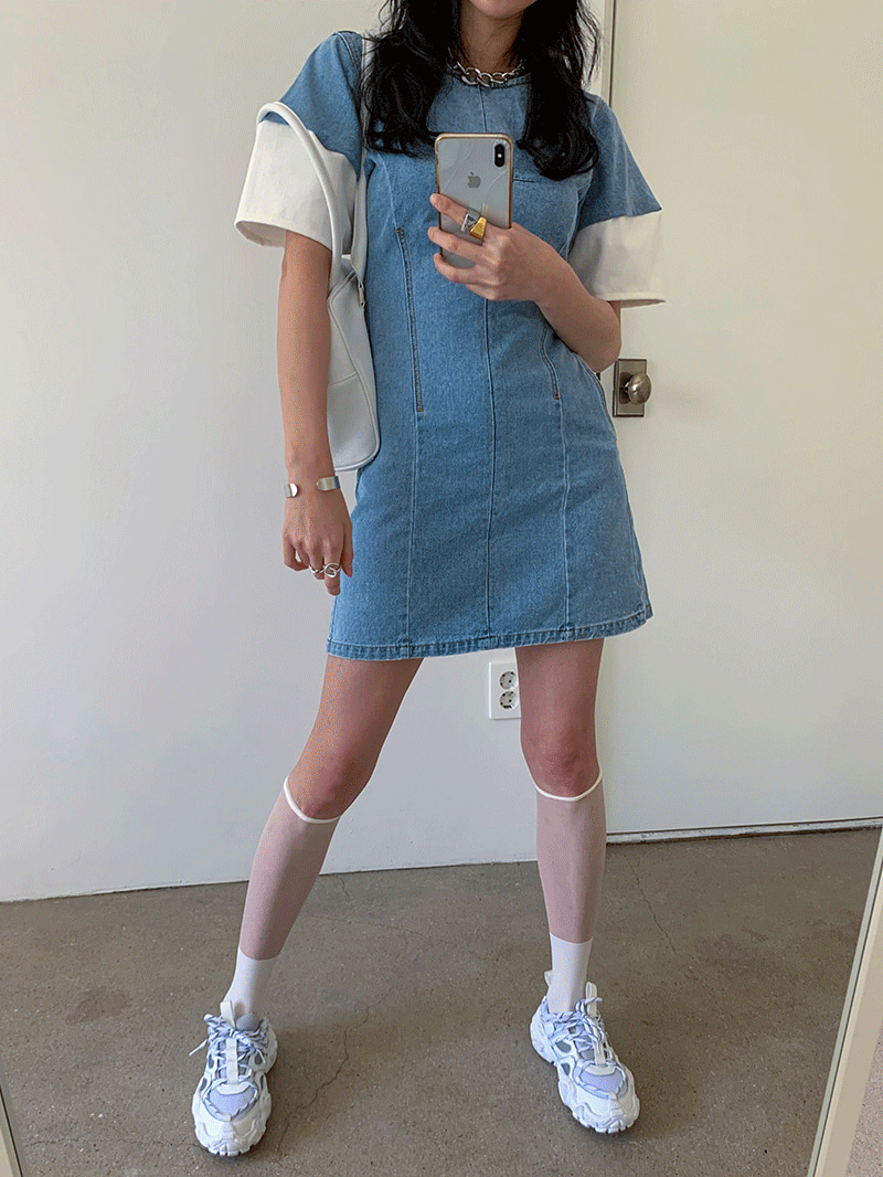Balloon Fin Chin Denim Dress-Ops